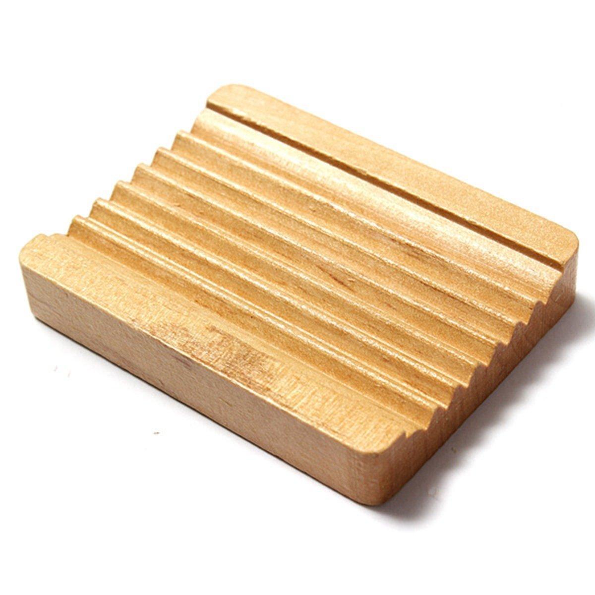 SODIAL Vaschetta portasapone in legno naturale trapezoidale portasalviette per box doccia 10 x 7,5 cm