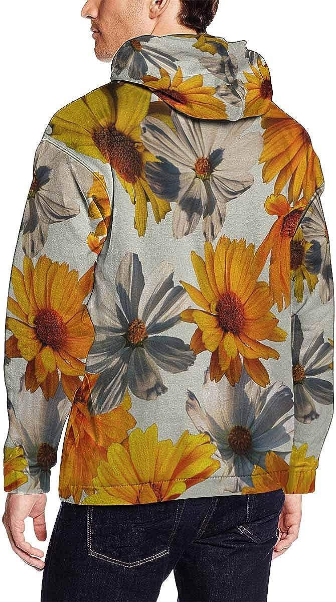 INTERESTPRINT Mens Vintage Colorful Floral Pullover Hoodie