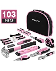 WorkPro 103-Piece Pink Ladies Tool Kit – Women's Hand Tool Set with Easy Carrying Round Pouch - Durable, Long Lasting Chrome Finish Tools - Perfect for DIY, Home Small Maintenance Jobs