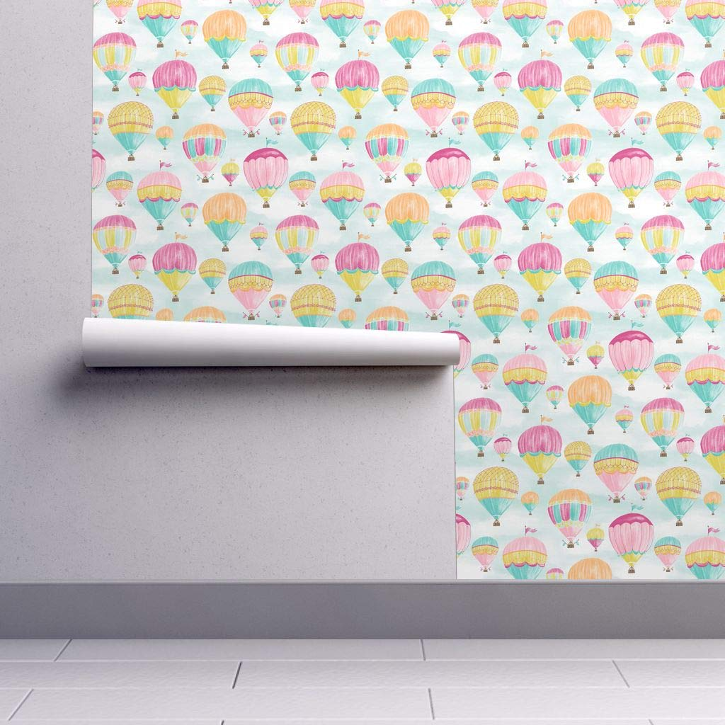 Hot Air Balloon Wallpaper Sample Swatch - Balloons Aircraft Airship Dirigible Clouds Sky by Jillbyers - Swatch 12in x 24in