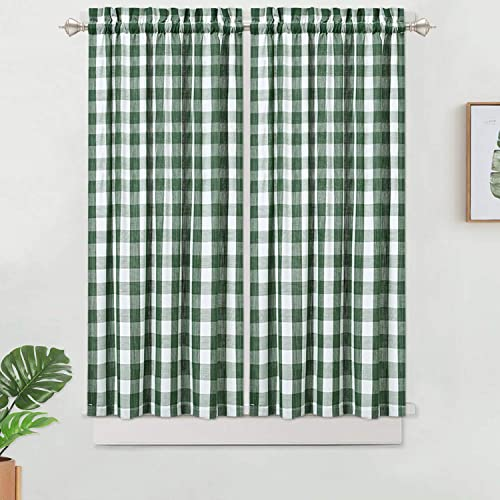 Haperlare Buffalo Check Tier Curtains, Kitchen Curtains 45 inches Long Short Curtain, Sage Plaid Gingham Pattern Cafe Bathroom Panels Rod Pocket Window Treatment Set, Sage White, Set of 2