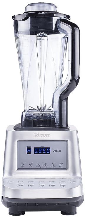Nova 210400 Licuadora Batidora Profesional Saludable con función Turbo, Cuenta con un Display de LED y 10 configuraciones, 1600 W, Vidrio, Negro, ...