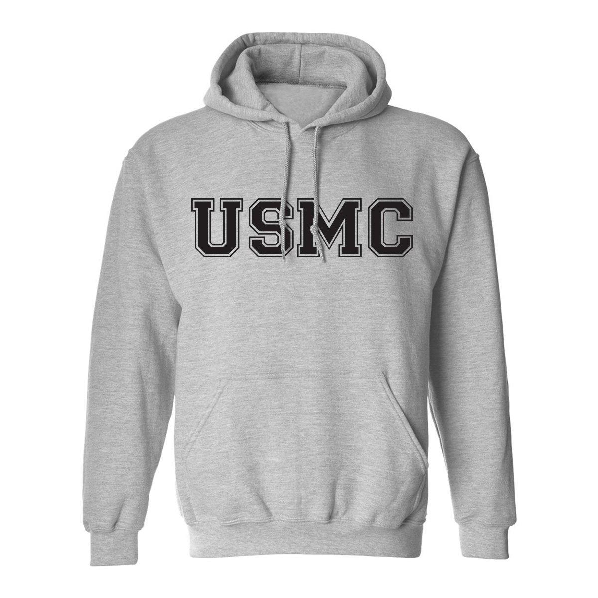 USMC Athletic Marines Hooded Sweatshirt in Gray PA-1036