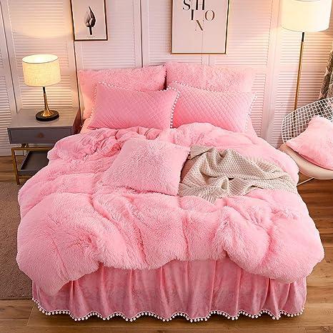 Amazon Com Liferevo Luxury Plush Shaggy Duvet Cover Set 1 Faux Fur Duvet Cover 2 Pompoms Fringe Pillow Shams Solid Zipper Closure Queen Pink Home Kitchen