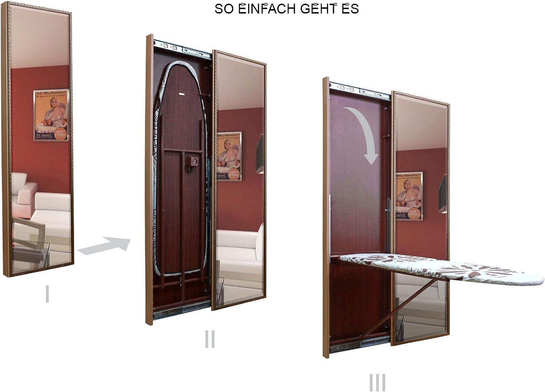Espejo/tabla de planchar con puerta corredera, color nogal, cerezo, color wengué o roble, medidas B500 X h1670 X T65, Verona, madera de acacia clara, Schiebetür nach rechts: Amazon.es: Hogar