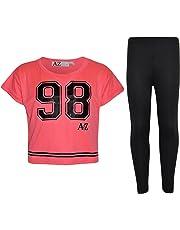 Girls Top Kids 98 Print Stylish Crop Top & Fashion Legging Set Age 7-13 Years