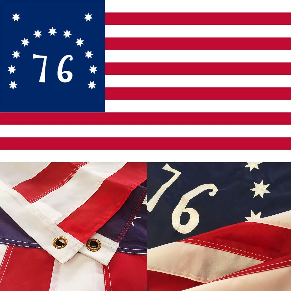 Amazon Com Winbee American Bennington 76 Flag 3x5 Ft Premium Embroidered Stars Heavy Duty 300d Nylon Sewn Stripes And Brass Grommets Best Us 1776 Bennington Revolution Flag Great For Outdoor Indoor Display