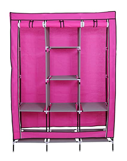 Collapsible Foldable Wardrobe   Non Woven Fabric   Folding Wardrobe With  Triple Doors U0026 Shelves