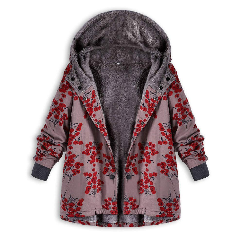 Clearance Hooded Coat For Women FEDULK Winter Warm Oversize Floral Print Vintage Outwear(Red,US Size XL = Tag 2XL) by FEDULK