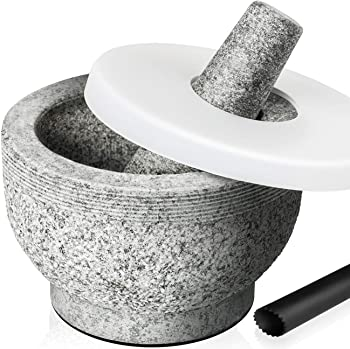 Tera 2-Cup Capacity Unpolished Granite Mortar and Pestle Set with Lid