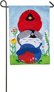 Evergreen Portly Birds Outdoor Safe Double-Sided Burlap Garden Flag, 12.5 x 18 inches