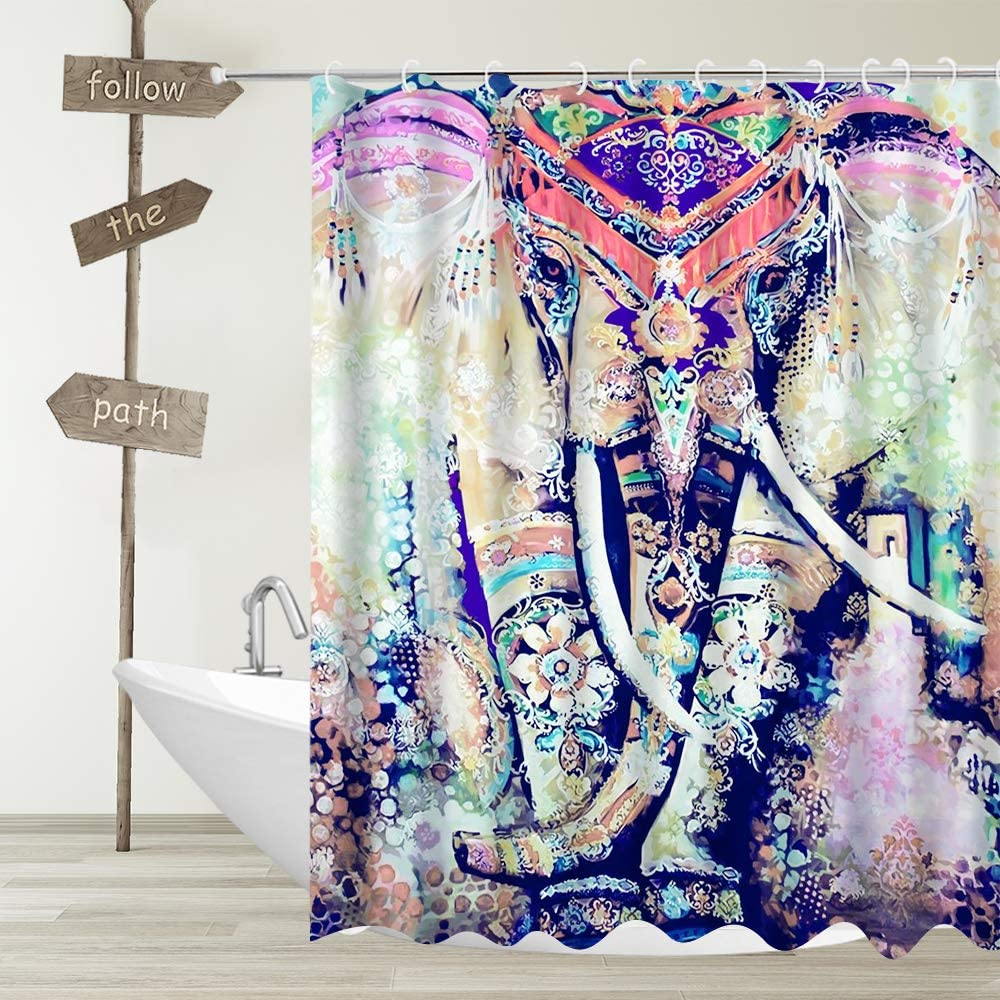 YUYASM African Elephant Shower Curtain Decor Colorful Bohemia Wildlife Hippie Ethnic Boho Animals Fabric Bathroom Curtains Waterproof Polyester Bath Curtain Set with Hooks 70x70 Inch