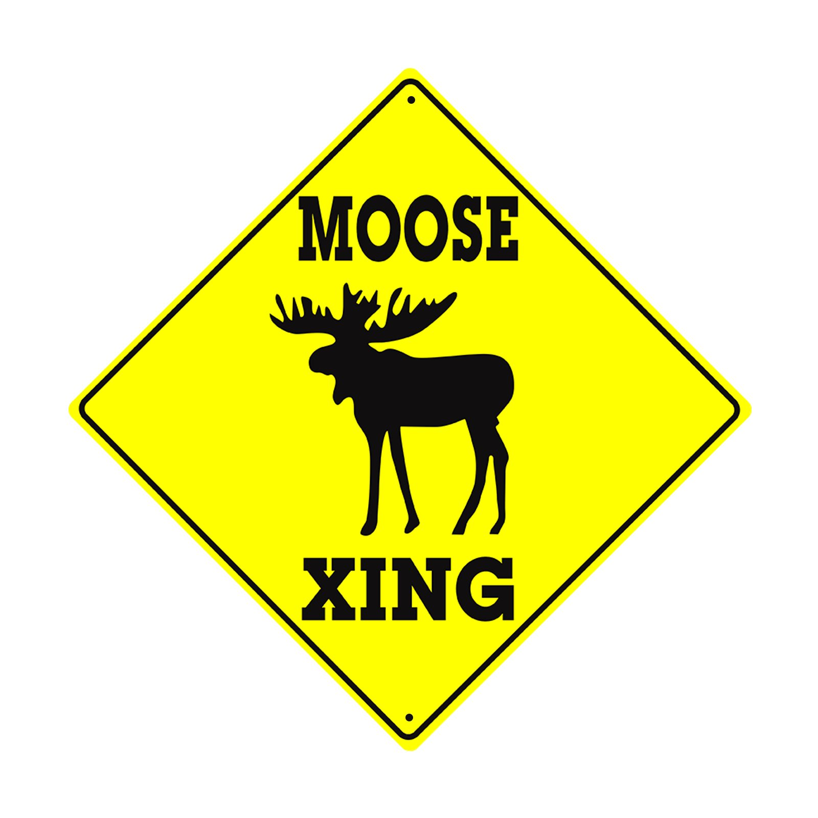 Moose Xing Crossing Wildlife Animal Caution Danger Safety Hunter Novelty Road Wall Décor Diamond Metal Aluminum 12''x12'' Sign