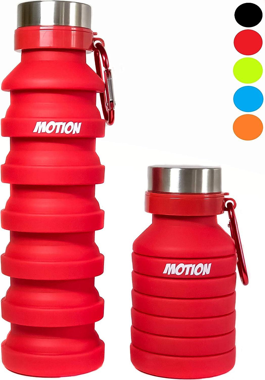 Motion Botella de agua plegable de viaje, 550 ml, ideal para viajes, gimnasio, senderismo, camping y actividades deportivas al aire libre. Botella reutilizable a prueba de goteo con mosquetón de alumi