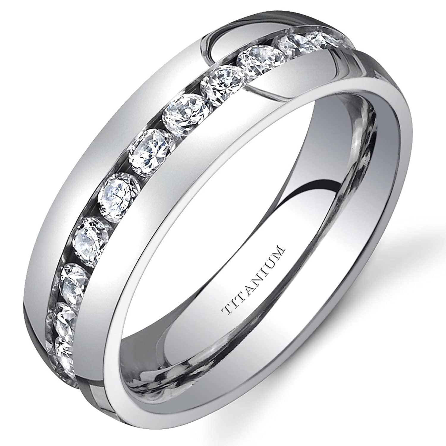 Titanium Womens 6 mm Eternity Band with Cubic Zirconia Available Size 5 to 8