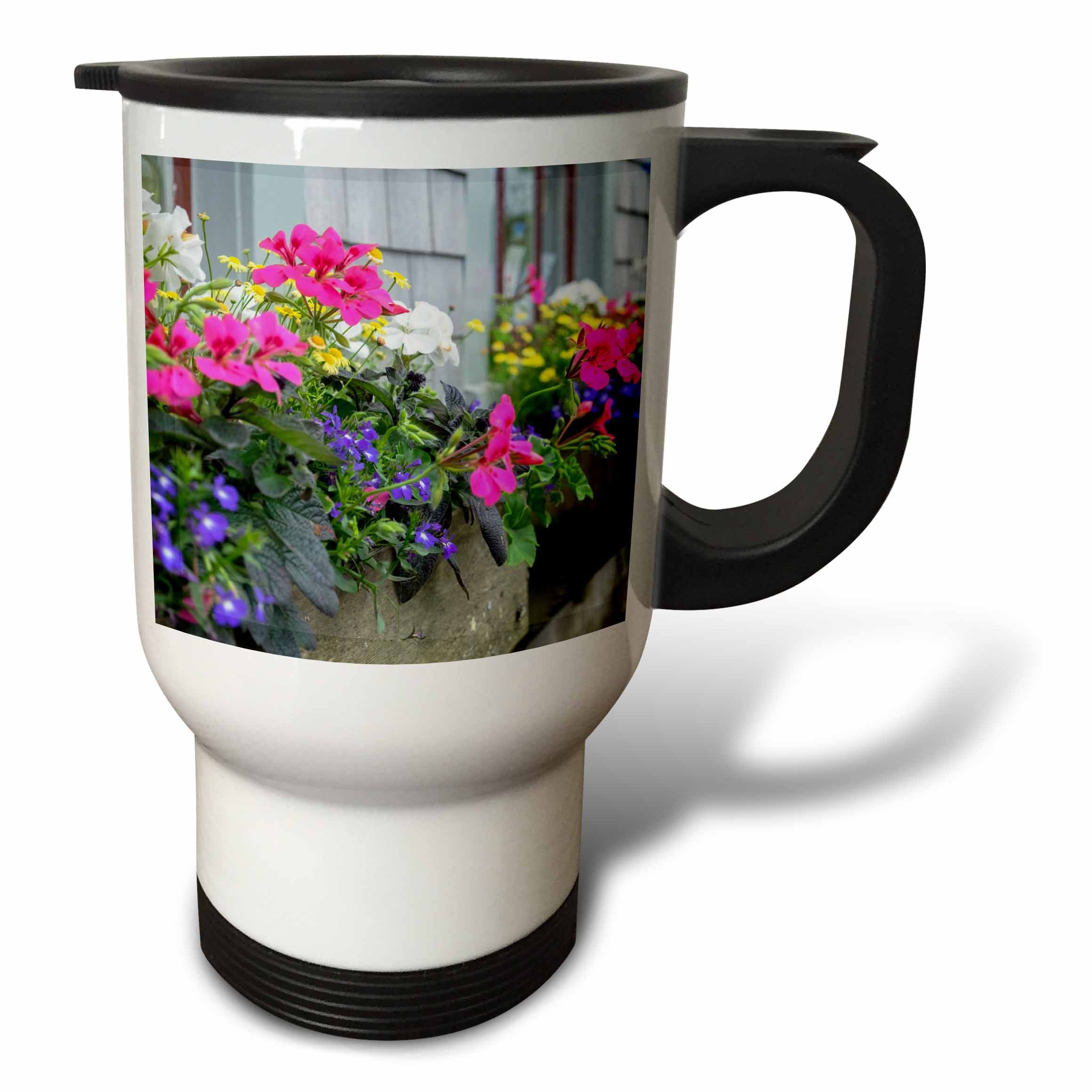 3dRose Danita Delimont - Flowers - Flowers in window boxes, Nantucket, Massachusetts, USA - 14oz Stainless Steel Travel Mug (tm_279042_1) by 3dRose (Image #1)