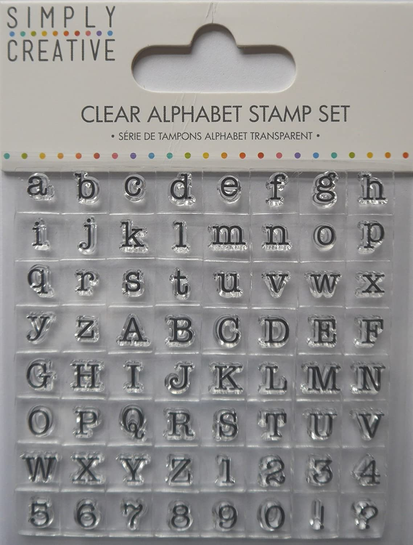 Trimcraft Simply Creative timbri trasparenti con lettere dell'alfabeto, stile macchina da scrivere, in acrilico,, 2 pezzi SCSTP001