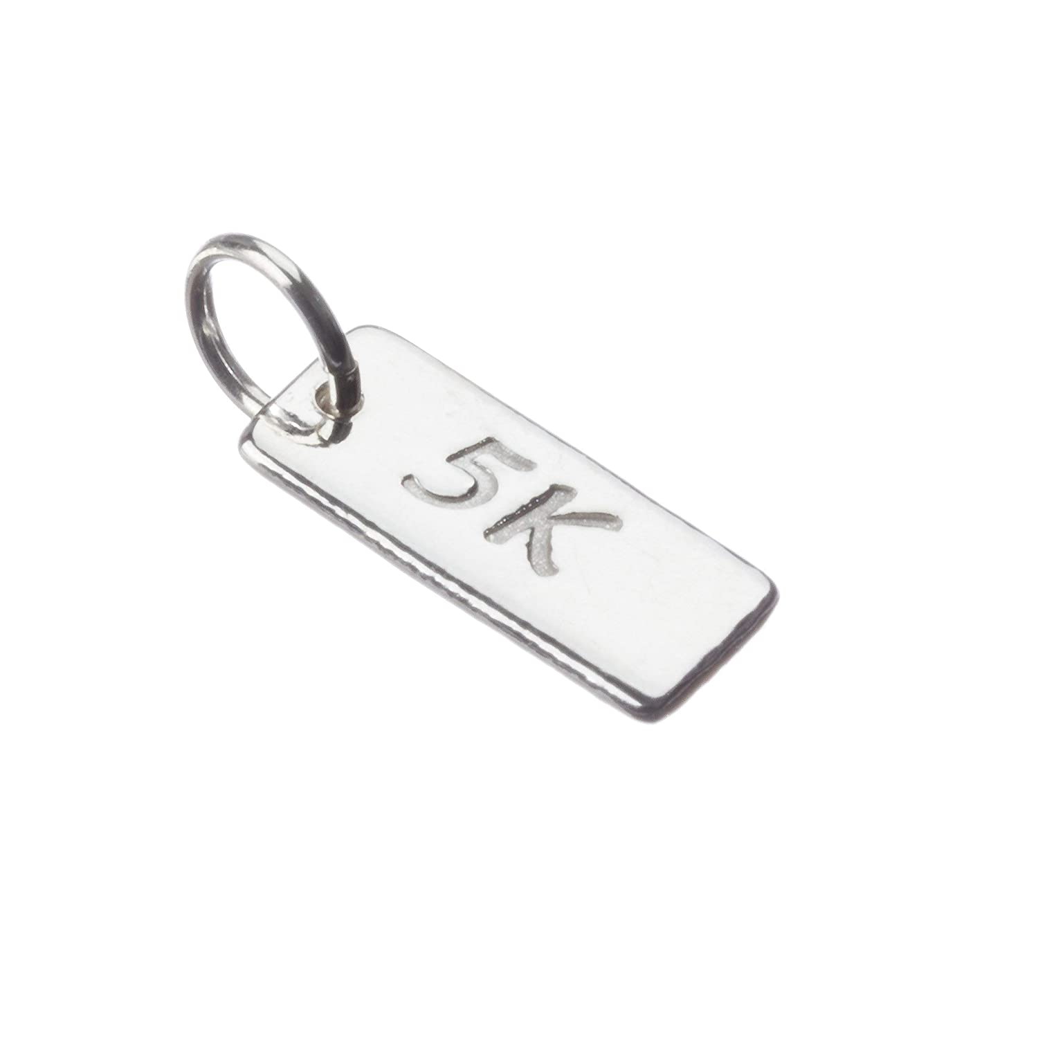 One TINY 5K sterling silver running charm. Running Jewelry 5K Charm