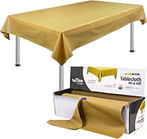 TopTable Supplies Table Cloth Roll Gold Plastic Roll Heavy Duty Premium Thicker Disposable | 54inch x 108ft for up to 12 x 6ft Rectangular Tables | Heavy Duty | Thicker | Stronger | Fewer Creases.
