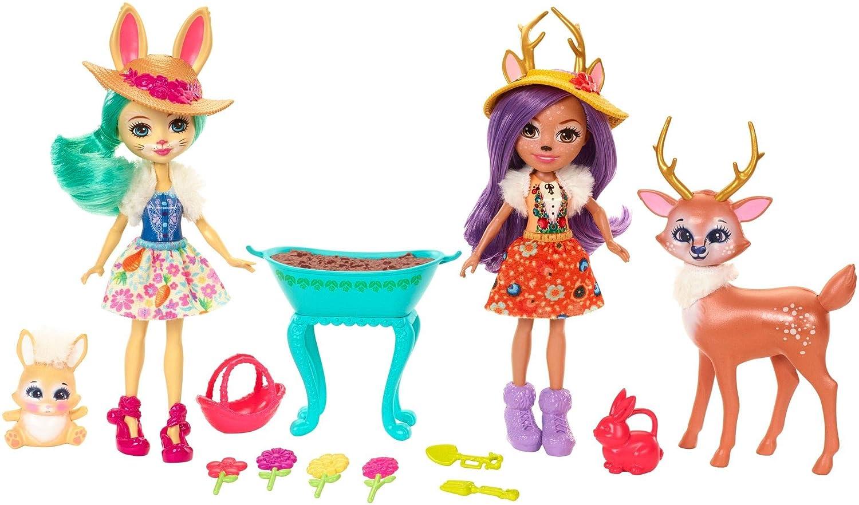 Enchantimals Coffret Jardin Enchanté, Mini-poupées Danessa Biche, Fluffy Lapin et Figurines Animales avec accessoires de jardinage, jouet enfant, FDG01 Mattel