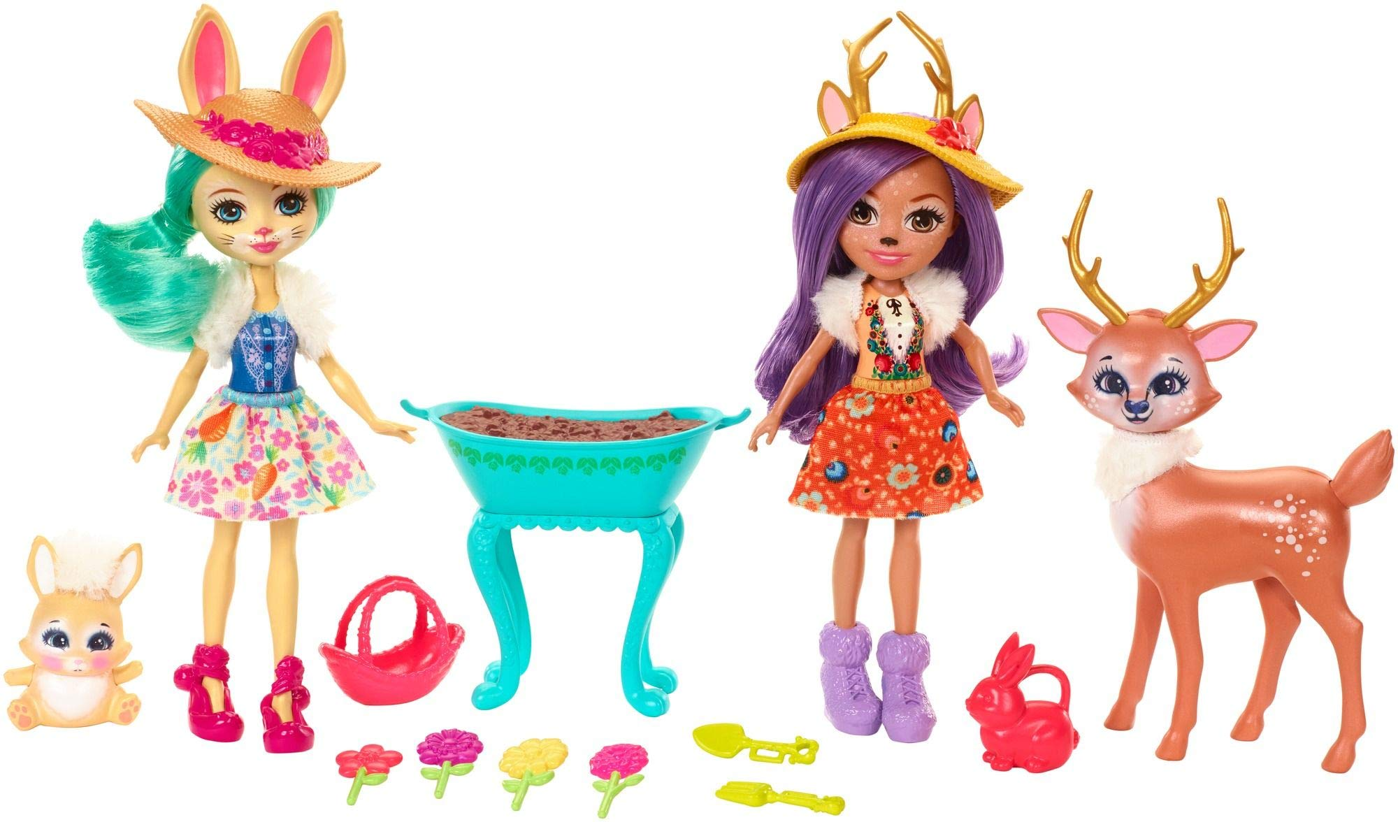Enchantimals Coffret Jardin Enchanté, Mini-poupées Danessa Biche, Fluffy Lapin et Figurines Animales avec accessoires de jardinage, jouet enfant, FDG01 product image