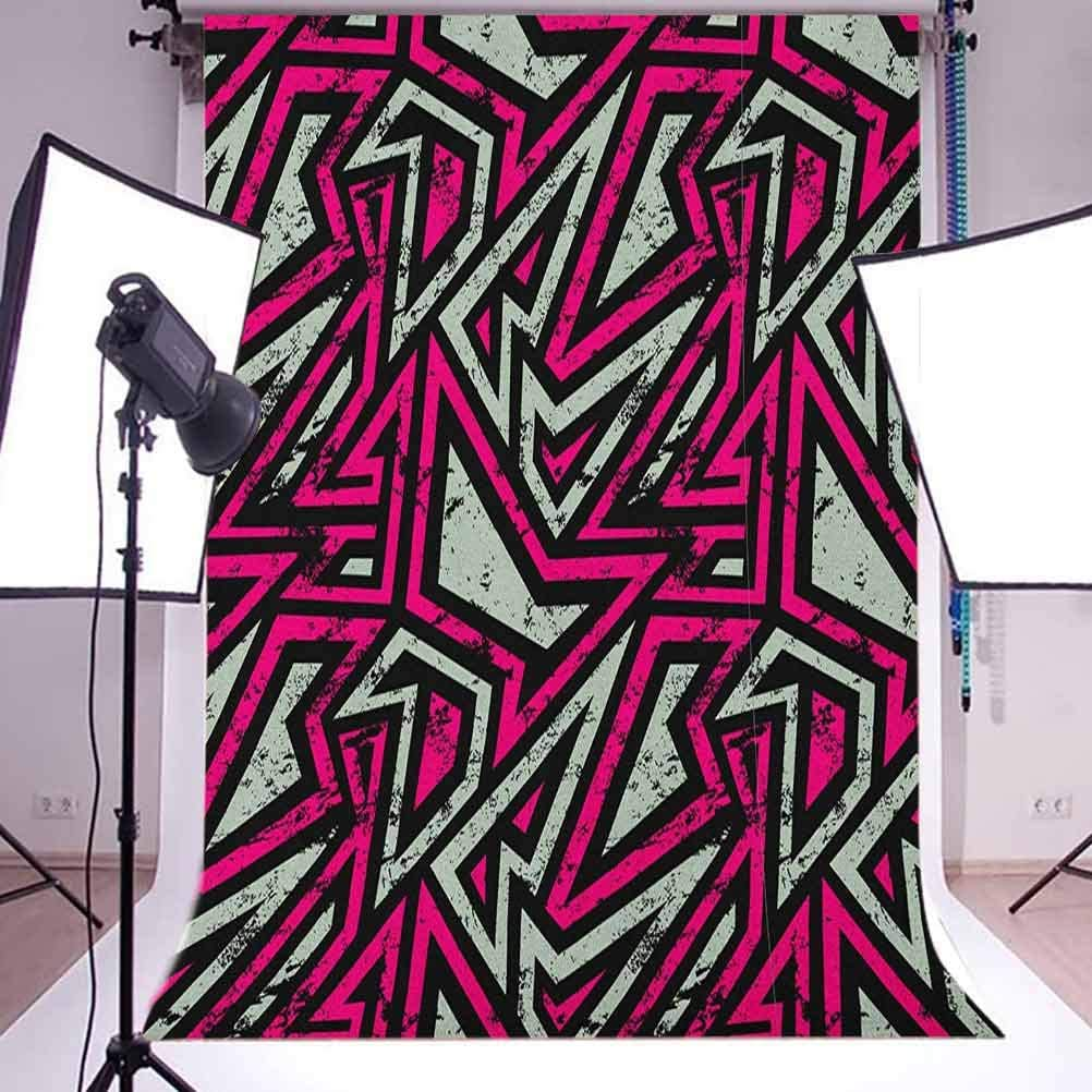 9x16 FT Grunge Vinyl Photography Backdrop,Retro Geometric Pattern with Colorful Stripes Old Worn Looking Backdrop Background for Party Home Decor Outdoorsy Theme Shoot Props