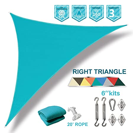Coarbor 16 x16 x23 Right Triangle Sun Shade Sail Perfect for Patio Yard Deck Outdoor Garden with Hardware Kit UV Block Shade Cover Canopy-Turquoise Green