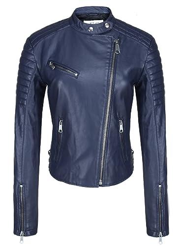 Escalier mujeres cuero de imitación motocicleta chaqueta cremallera abrigo Azul