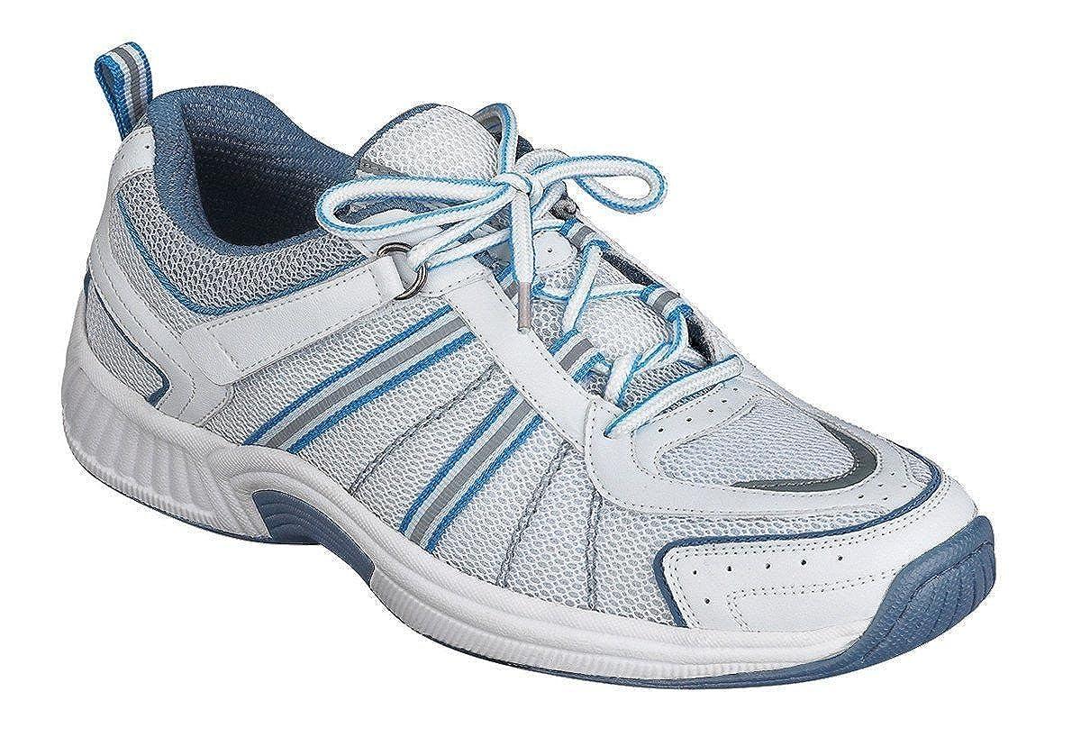 Orthofeet Proven Pain Relief Comfortable Plantar Fasciitis Orthopedic Diabetic Flat Feet Bunions Women's Athletic Shoes - 910 B00I0GXOL8 -5.0 Medium (B) White/Blue Lace US Woman