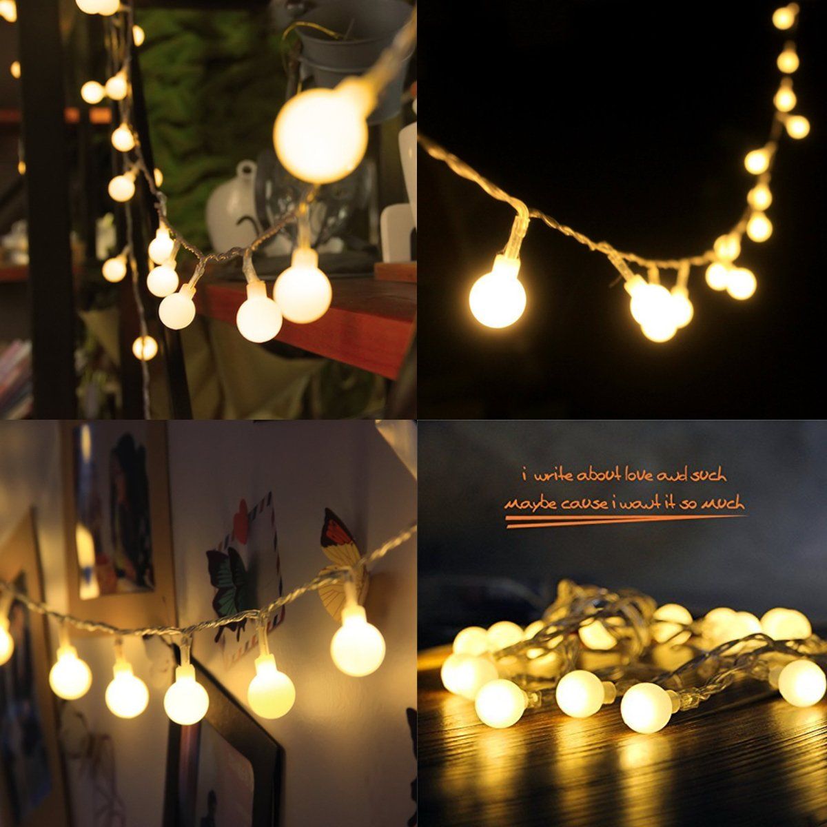 amazoncom 4m 40 led ball styled string lights battery operated for christmas partys wedding new year decorations etc warm white home u0026 kitchen