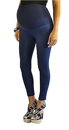 12a1e2faf1eab FuturaLondon Full Ankle Blue Length Cotton Over Bump Maternity Denim Look  Leggings Jeggings * (10