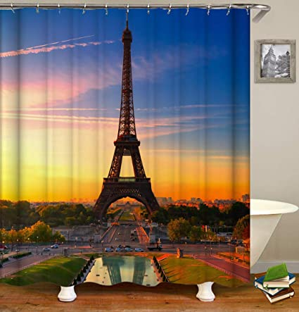 SARA NELL Eiffel Tower Shower Curtain Paris Sunrise Bath For Bathroom Mildew Resistant