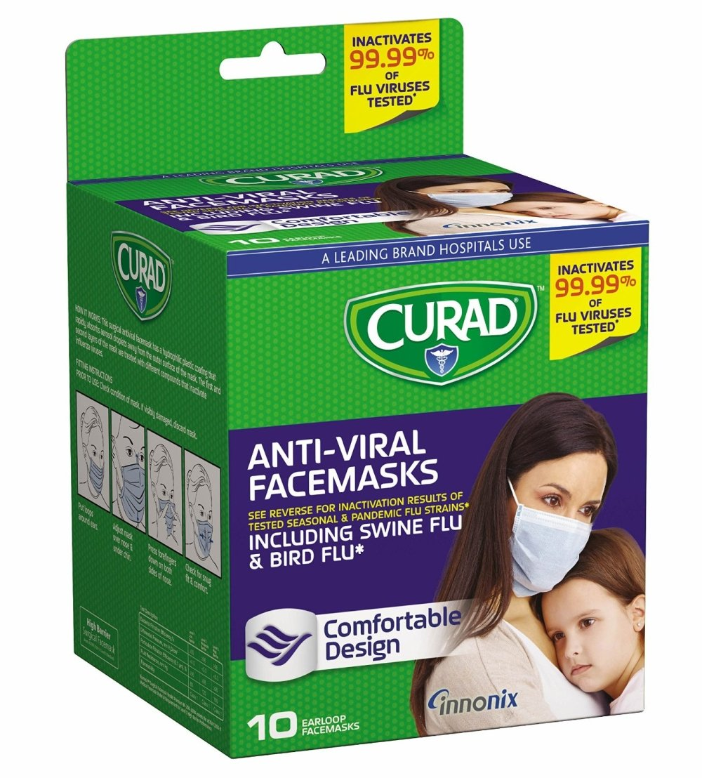 Curad Antiviral Face Mask, 10 Count(3 Packs)