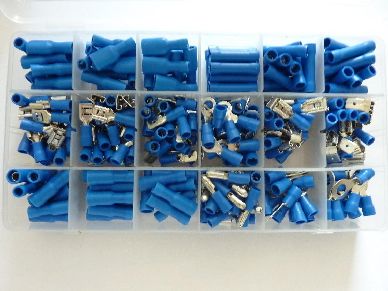 Profizange 300 Kabelschuhe blau Sortiment Set isoliert für Kabel 1,5-2,5 mm²
