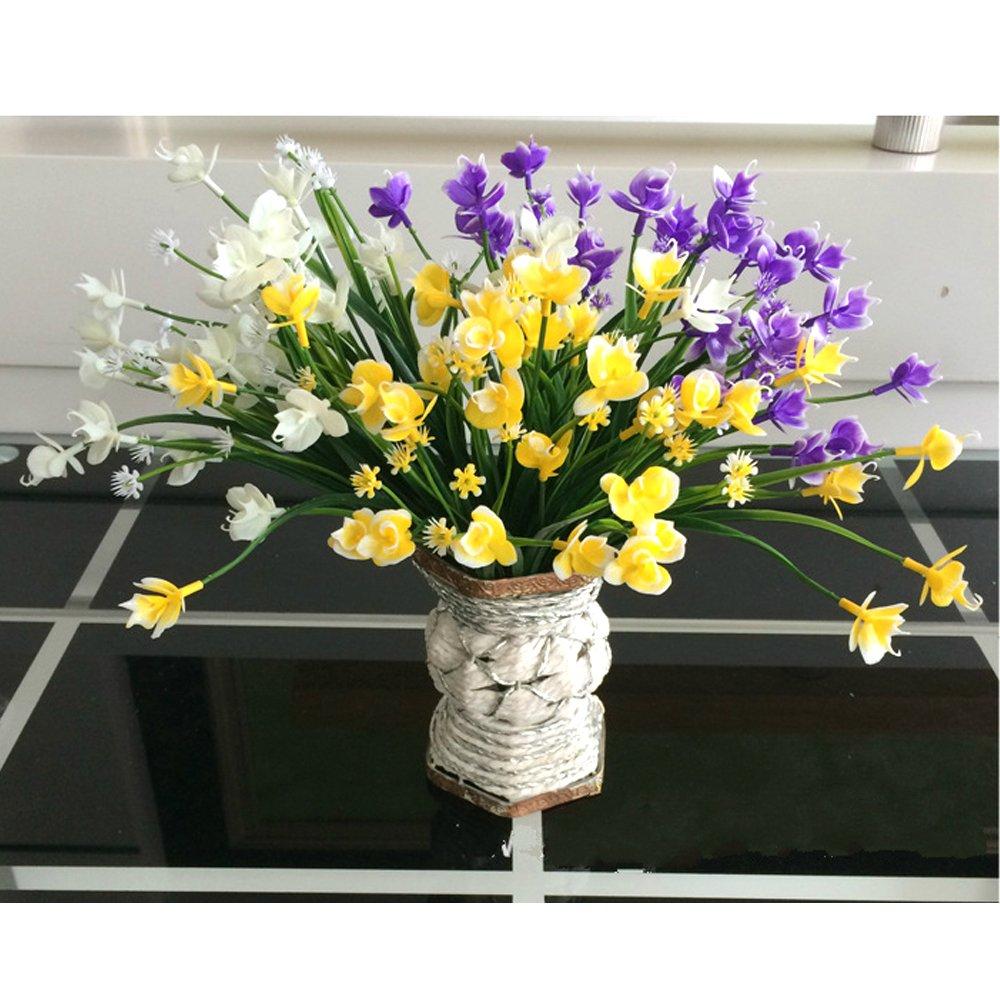 leezeshaw 5点プラスチック人工Moth Orchid Bouquets FakeシミュレーションバタフライOrchid Flowers forインドア外側ホームガーデンOfficeバルコニーウェディングの装飾 3pcs B075WT6334 White_yellow+purple 3pcs