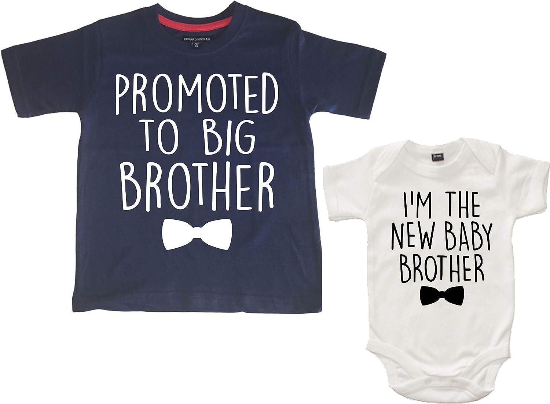 Edward Sinclair 'Promoted to Big Brother' & 'I'm The New Baby Brother' Conjunto de camiseta y body para bebé para niños
