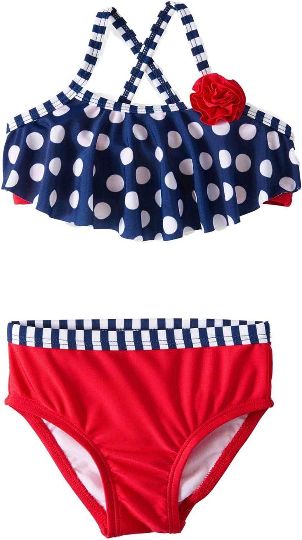 Striped Star Kids Girls Swimsuit Bikini Set Swimwear Beachwear Bathing Suit6-16Y