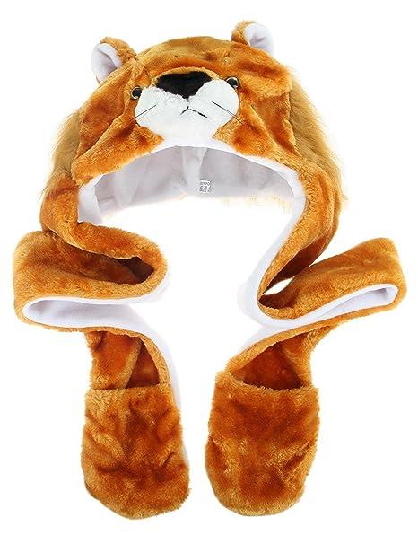d05c962e17bcf GEMVIE Gorro Disfraz Cosplay De Animal Sombrero con Ear Flap Protección Oreja  Adulto Niños Felpa León  Amazon.es  Ropa y accesorios