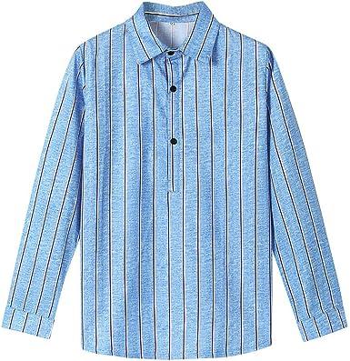 SoonerQuicker Camisas de Hombre T Shirt tee Camisa a Rayas de Solapa de Manga Larga de algodón de bambú de la Moda de los Hombres Blusa Superior Ocasional(Azul XL): Amazon.es: Ropa y
