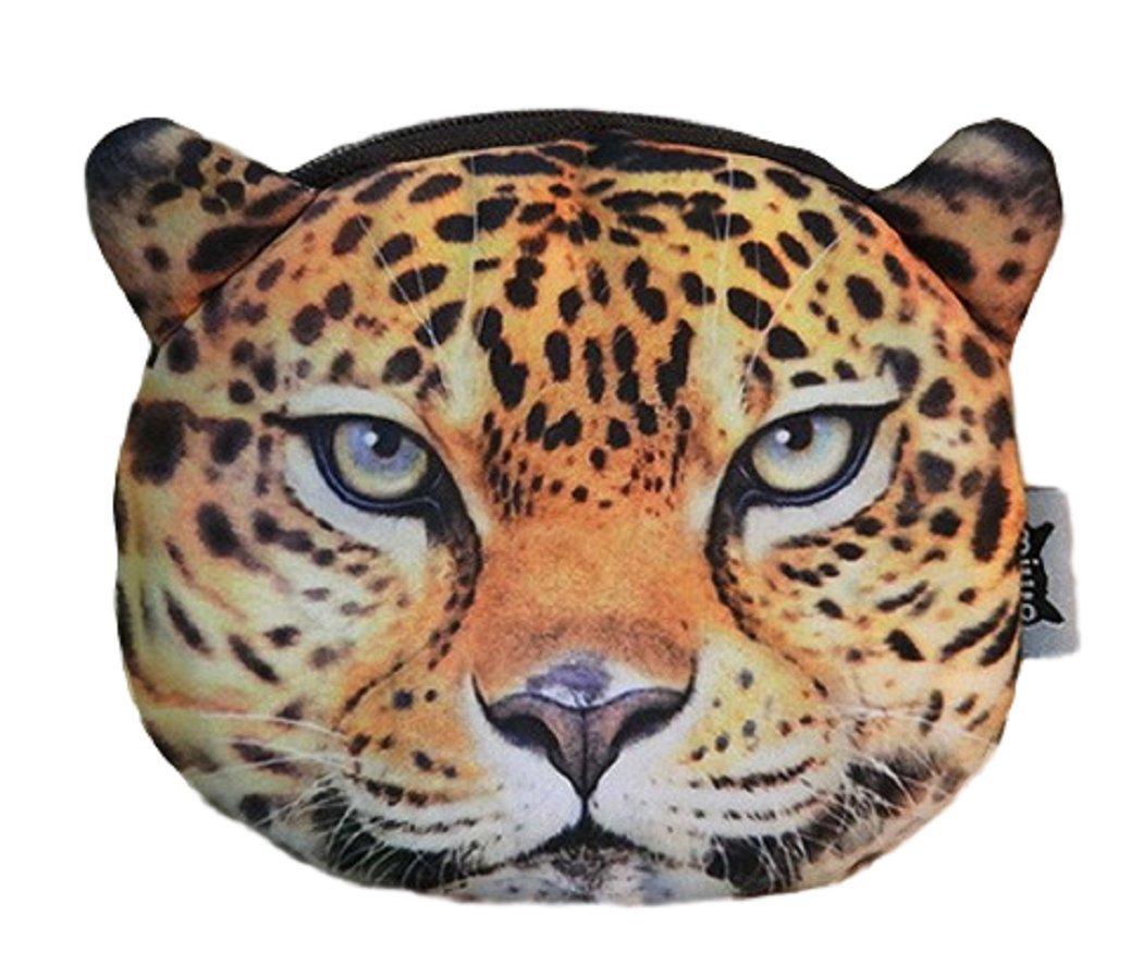 Weicher Geldbeutel / Aufbewahrungstasche / Münzbörse mit coolem Großkatzenmotiv (Leopard, Löwe, Tiger) im Animal Print Design (Reißverschluss) (Leopard) Löwe LB00207