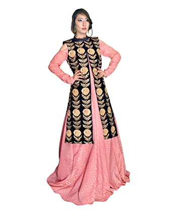 316f840c187 Wedzilla party wear Gown for Women's Clothing designer wear Gown collection  (Colour- Pink Black): Amazon.in: Clothing & Accessories