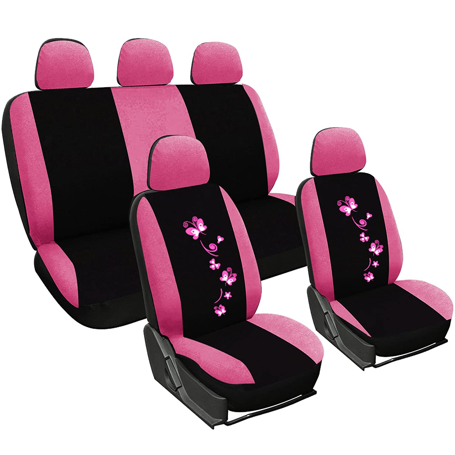 woltu car seat covers black and pink full set 5 seaters universial for cars ebay. Black Bedroom Furniture Sets. Home Design Ideas