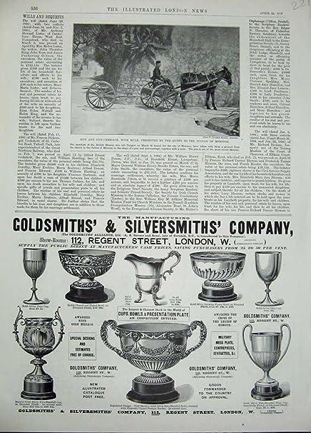 Plata 1896 del Orfebre del Anuncio del Burro del Arma-Carro [Cocina y Hogar