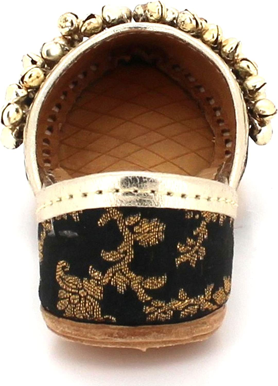 AARZ LONDON Kids Girls Bells Decorated Slip On Traditional Indian Casual Handmade Leather Flat Khussa Pumps Shoes Size