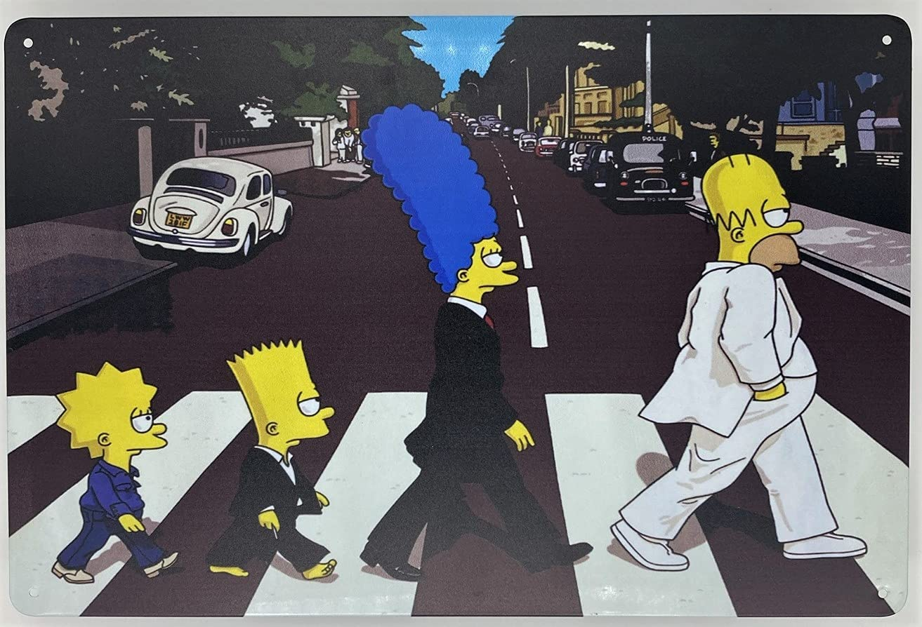 Metal Tin Sign   Wall Poster   The Simpsons at Abbey Road as The Beatles 8 x 12 in   Fun Decorative Sign for Home Bar Room Garage Garden Man Cave and Outdoor Plaque