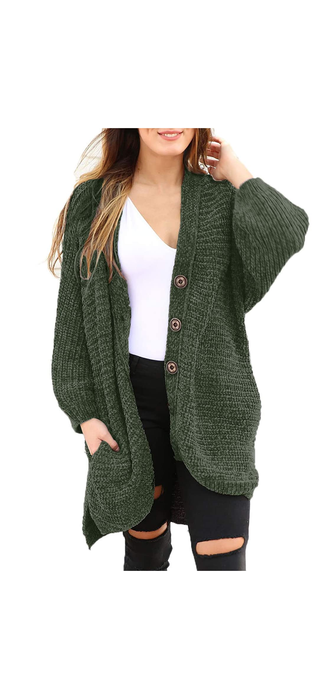 Women Button Down Sweater Coat Casual Open Front