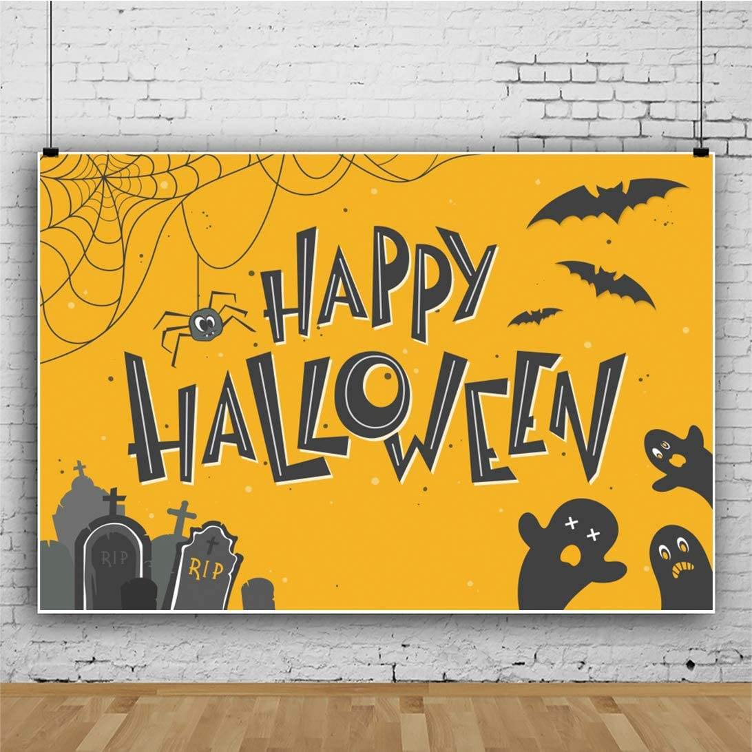 Yeele Halloween Backdrop 10x6.5ft Kids Halloween Party Photography Background Cute Ghosts Spider Trick or Treat Room Decor Halloween Event Decoration Costume Party Video Studio Props