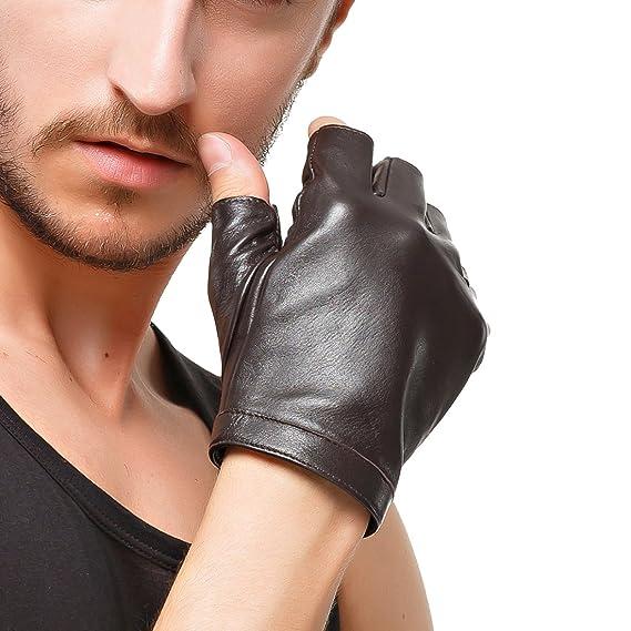 Nappaglo Herren Fingerlose Lederhandschuhe Lammfell Weiches Seidenfutter Halbfinger f/ür fahren Radfahren Outdoor Handschuhe