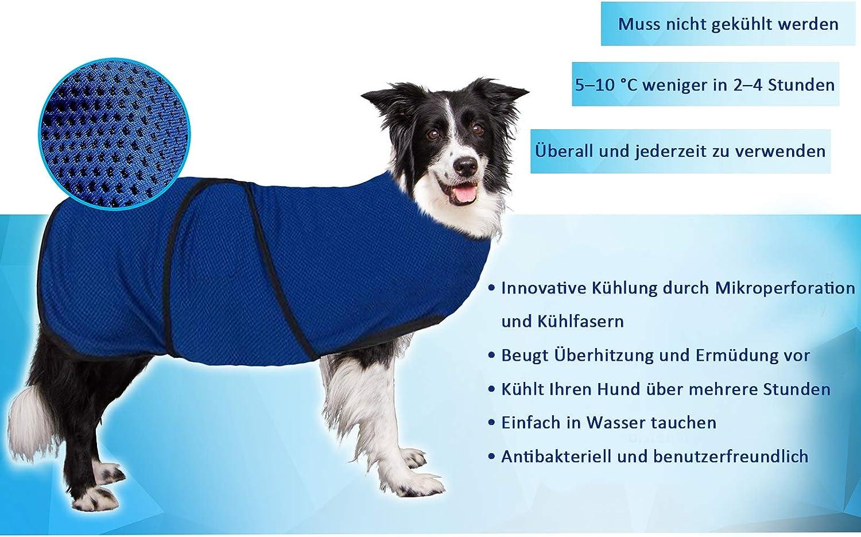 Pawhut Hundek/ühlweste K/ühlweste K/ühljacke Hunde Cooling Vest schnelle Abk/ühlung Polyester Blau
