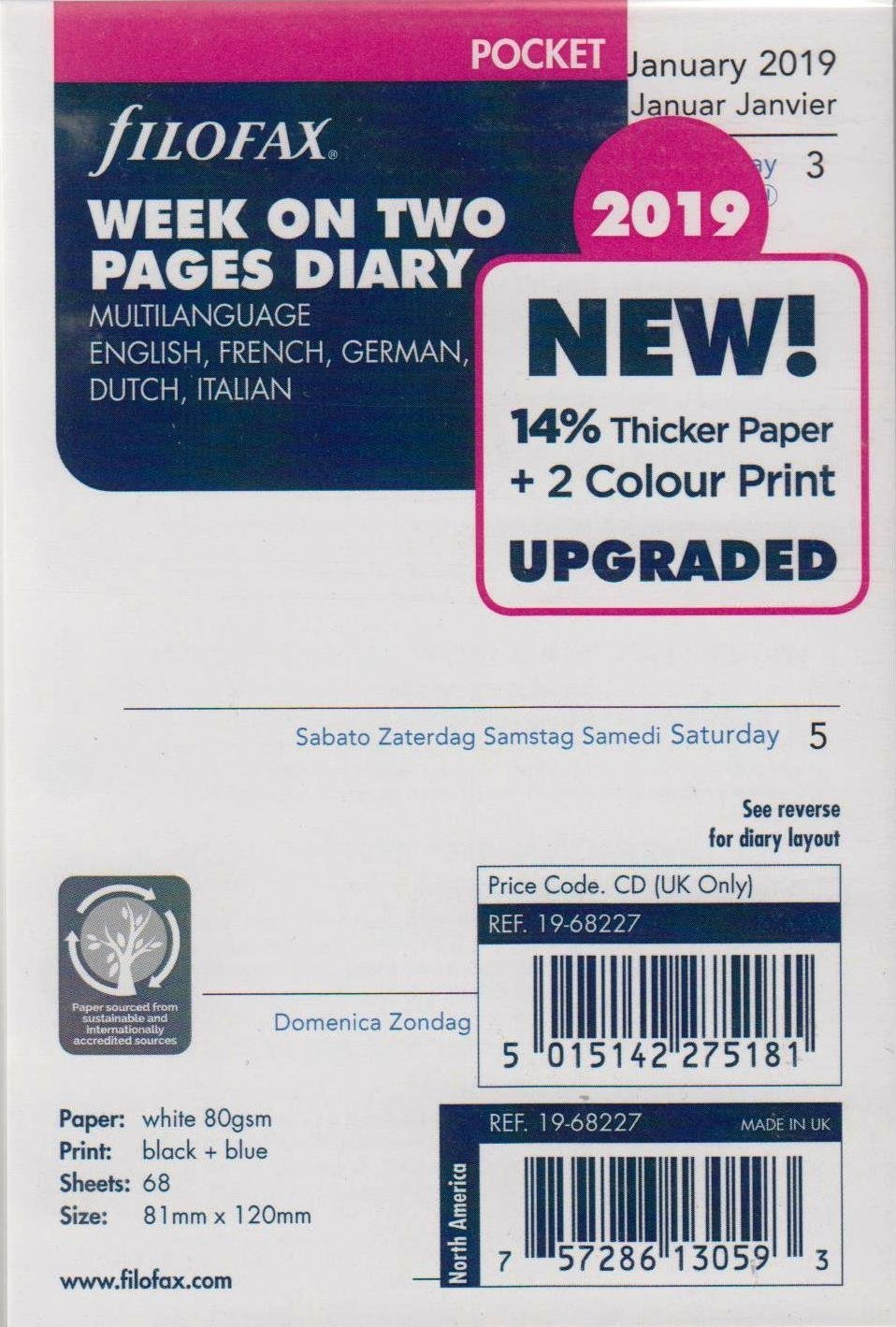 Filofax 19-68227 Pocket Week On Two Pages 2019 Diary